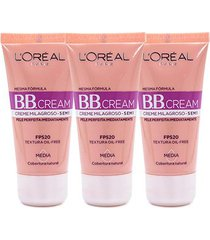 kit 3 bb cream l'oréal paris cor média fps 20 30ml