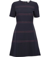 angela stitch dress ss knälång klänning blå tommy hilfiger