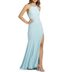 mac duggal women's embellished slit halter gown - emerald - size 12