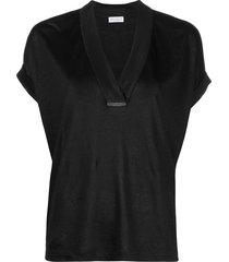 brunello cucinelli slouchy silk-linen t-shirt - black