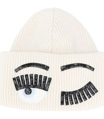 chiara ferragni flirting sequined beanie - white