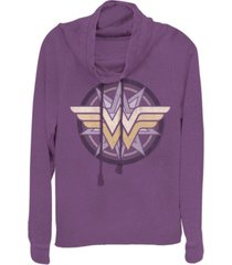 fifth sun dc wonder woman star logo cowl neck women's pullover fleece