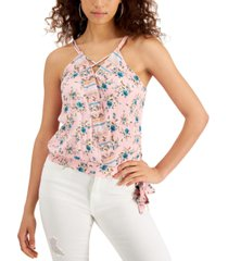 crave fame juniors' floral-print tank top