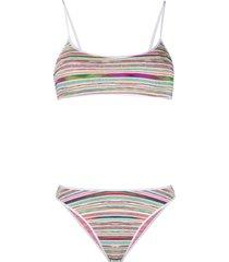 missoni mare striped-knit bikini - white