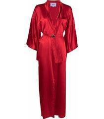 atu body couture longline satin coat - red