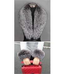 vintage silver fox fur collar&cuffs/scarf/stole/shawl/mens detachable collar