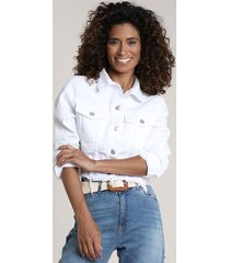 jaqueta de sarja feminina cropped com barra desfiada branca
