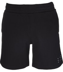 mcq alexander mcqueen black cotton logo track shorts man