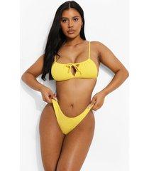 mix & match gekreukeld hipster bikini broekje, yellow