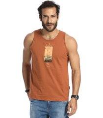 camiseta vlcs regata gola redonda marrom