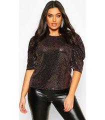 plus sequin metallic puff sleeve top, rose gold