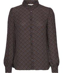 gekko print shirt blouse lange mouwen bruin modström