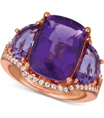 le vian amethyst (7-3/8 ct. t.w.) & white sapphire (1/4 ct. t.w.) ring in 14k rose gold