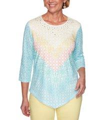 alfred dunner women's missy spring lake chevron mesh top