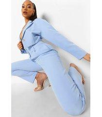 broek met dubbele taille band en rechte pijpen, powder blue