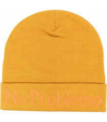 aries mustard colored bennie cap with no problemo print
