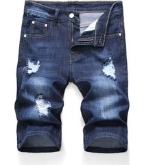 zipper fly design ripped denim shorts