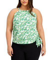 inc plus size tie waist printed halter top, created for macy's