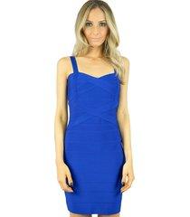 vestido liage curto bandagem azul royal