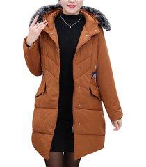 cappotto in cotone con tasca con cappuccio casual