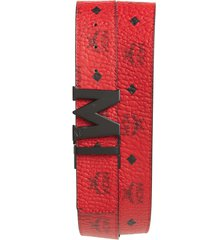 men's mcm reversible signature leather belt, size one size - red