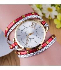 orologio al quarzo in pelle a tre cerchi con cinturino alla moda per donna
