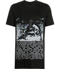 rick owens drkshdw photograph print mid-length t-shirt - black