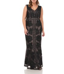 plus size women's js collections beaded flare gown