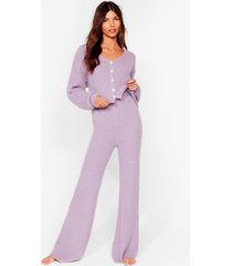 womens you and me pearl knit cardigan and pants set - lilac