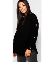 maternity horn button fisherman knit sweater, black
