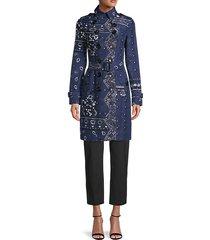 bandana-print silk-blend trench coat