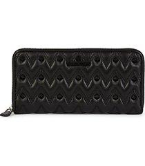 leonardo sauvage stud-embellished leather zip-around wallet