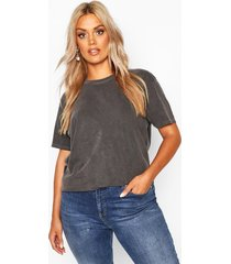 plus washed effect t-shirt, charcoal