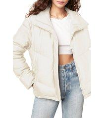 women's bb dakota answer my layer faux leather puffer jacket, size large - ivory