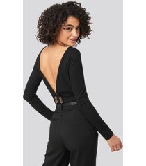 trendyol back low-cut knitted blouse - black
