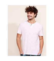 camiseta masculina básica manga curta gola portuguesa rosa claro