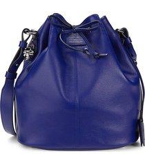 alexander mcqueen women's padlock skull leather bucket bag - ultramarine