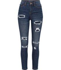 jeans skinny con zone sdrucite (blu) - rainbow