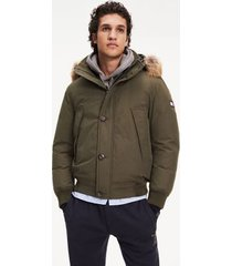 tommy hilfiger men's down hooded bomber jacket forest night - xs