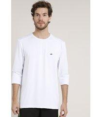camiseta masculina esportiva ace manga longa gola careca com proteção uv50+ branca