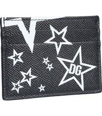 dolce & gabbana designer men's bags, black and white star printed leather card holder