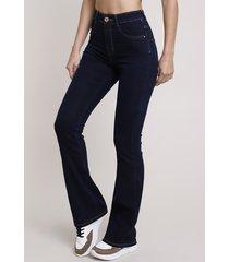 calça jeans feminina sawary flare super lipo cintura alta azul escuro