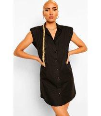 blouse jurk met schouderpads, black