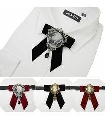 farfallino vintage farbic geometric velluto crystal avatar ciondolo bow bolo tie formal jewelry per gli uomini