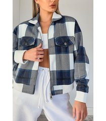 flannel bomber jacket, navy