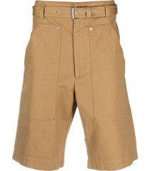 isabel marant straight-leg belted shorts - brown