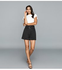 reiss lanie - belted shorts in black, womens, size 10