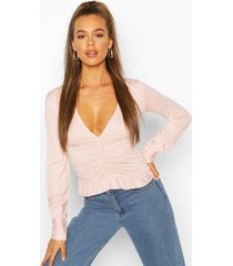ruched long sleeve crop top, nude