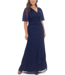 b & a by betsy & adam plus size embellished flutter-sleeve gown