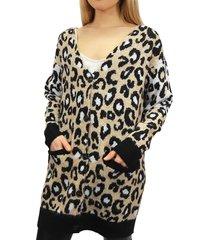 rd style women's animal-print v-neck cardigan - sand - size m